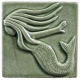 "Mermaid 4""x4"" Ceramic Handmade Tile -  Spearmint Glaze"