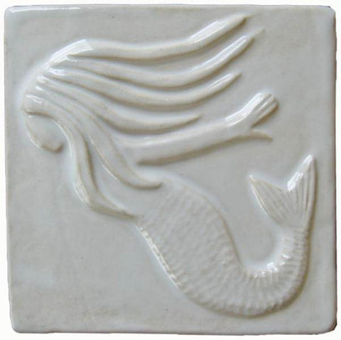 "Mermaid 4""x4"" Ceramic Handmade Tile - White Glaze"