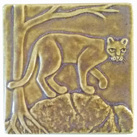 "Mountain Lion 4""x4"" Ceramic Handmade Tile - Honey Glaze"