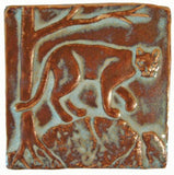 "Mountain Lion 4""x4"" Ceramic Handmade Tile - Autumn Glaze"