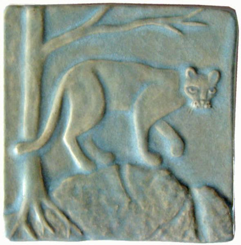 "Mountain Lion 4""x4"" Ceramic Handmade Tile - Celadon Glaze"