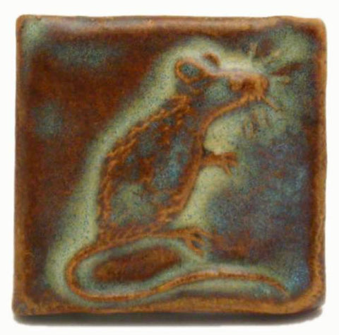 "Mouse 2""x2"" Ceramic Handmade Tile - Autumn Glaze"