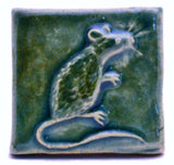 "Mouse 2""x2"" Ceramic Handmade Tile - Leaf Green Glaze"