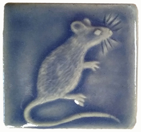 "Mouse 2""x2"" Ceramic Handmade Tile - Watercolor Blue Glaze"