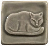 "Napping Cat 2""x2"" Ceramic Handmade Tile - Gray Glaze"