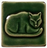 "Napping Cat 2""x2"" Ceramic Handmade Tile - Leaf Green Glaze"