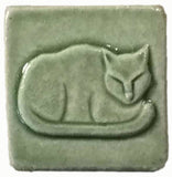 "Napping Cat 2""x2"" Ceramic Handmade Tile - Spearmint Glaze"