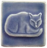 "Napping Cat 2""x2"" Ceramic Handmade Tile - Watercolor Blue Glaze"