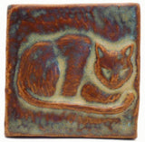 "Napping Cat 3""x3"" Ceramic Handmade Tile - Autumn Glaze"