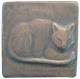 "Napping Cat 3""x3"" Ceramic Handmade Tile - Celadon Glaze"