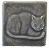 "Napping Cat 3""x3"" Ceramic Handmade Tile - Gray Glaze"