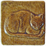 "Napping Cat 3""x3"" Ceramic Handmade Tile - Honey Glaze"