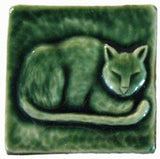 "Napping Cat 3""x3"" Ceramic Handmade Tile - Leaf Green Glaze"