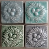 "Nest 2""x2"" Ceramic Handmade Tile - Multicolored Glaze Grouping"