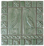 "Set Of Two 4""x8"" Heron Ceramic Handmade Tiles with 2"" and 3"" Border - Spearmint Glaze"