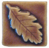 "Oak Leaf 2""x2"" Ceramic Handmade Tile - Hyacinth Glaze"