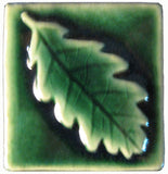 "Oak Leaf 2""x2"" Ceramic Handmade Tile - Leaf Green Glaze"