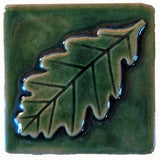 "Oak Leaf 3""x3"" Ceramic Handmade Tile - Leaf Green Glaze"