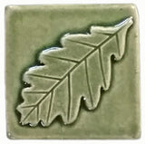 "Oak Leaf 3""x3"" Ceramic Handmade Tile - Spearmint Glaze"