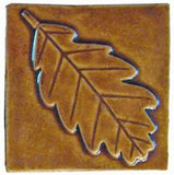 "Oak Leaf 4""x4"" Ceramic Handmade Tile - Honey Glaze"