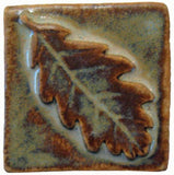 "Oak Leaf 2""x2"" Ceramic Handmade Tile - Autumn Glaze"