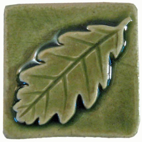 "Oak Leaf 2""x2"" Ceramic Handmade Tile - Spearmint Glaze"