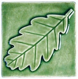 "Oak Leaf 4""x4"" Ceramic Handmade Tile - Spearmint Glaze"