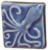 "Octopus 2""x2"" Ceramic Handmade Tile - Watercolor Blue Glaze"