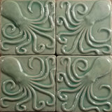 "Octopus 4""x4"" Ceramic Handmade Tile - Pacific Blue Glaze Grouping"