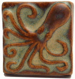 "Octopus 2""x2"" Ceramic Handmade Tile - Autumn Glaze"