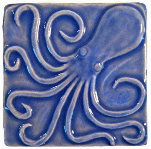 "Octopus 4""x4"" Ceramic Handmade Tile - Watercolor Blue Glaze"