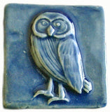 "Owl 2""x2"" Ceramic Handmade Tile - Watercolor Blue Glaze"