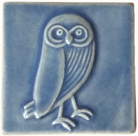 "Owl facing right 4""x4"" Ceramic Handmade Tile - Watercolor Blue Glaze"