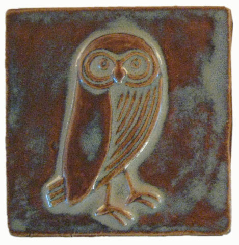 "Owl facing right 4""x4"" Ceramic Handmade Tile - Autumn Glaze"