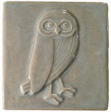 "Owl facing right 4""x4"" Ceramic Handmade Tile - Celadon Glaze"