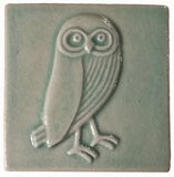 "Owl facing right 4""x4"" Ceramic Handmade Tile - Pacific Blue Glaze"