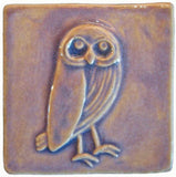 "Owl facing right 4""x4"" Ceramic Handmade Tile - Hyacinth Glaze"