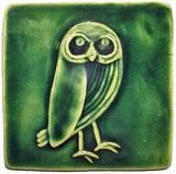 "Owl facing right 4""x4"" Ceramic Handmade Tile - Leaf Green Glaze"