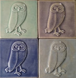 "Owl facing right 4""x4"" Ceramic Handmade Tile - multi-glaze grouping"