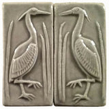"Set Of Two 2""x4"" Heron Ceramic Handmade Tiles - Gray Glaze"