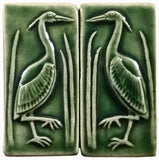 "Set Of Two 2""x4"" Heron Ceramic Handmade Tiles - Leaf Green Glaze"