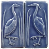 "Set Of Two 2""x4"" Heron Ceramic Handmade Tiles - Watercolor Blue Glaze"