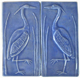 "Set Of Two 4""x8"" Heron Ceramic Handmade Tiles - Watercolor Blue Glaze"