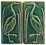"Set Of Two 3""x6"" Heron Ceramic Handmade Tiles - Leaf Green Glaze"
