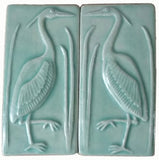 "Set Of Two 3""x6"" Heron Ceramic Handmade Tiles - Pacific Blue Glaze"