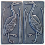 "Set Of Two 3""x6"" Heron Ceramic Handmade Tiles - Watercolor Blue Glaze"