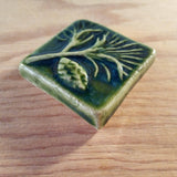 "Pine 2""x2"" Ceramic Handmade Tile - Leaf Green Glaze Edge Detail"