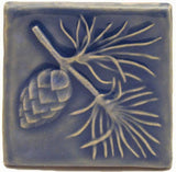 "Pine 4""x4"" Ceramic Handmade Tile - Watercolor Blue Glaze"
