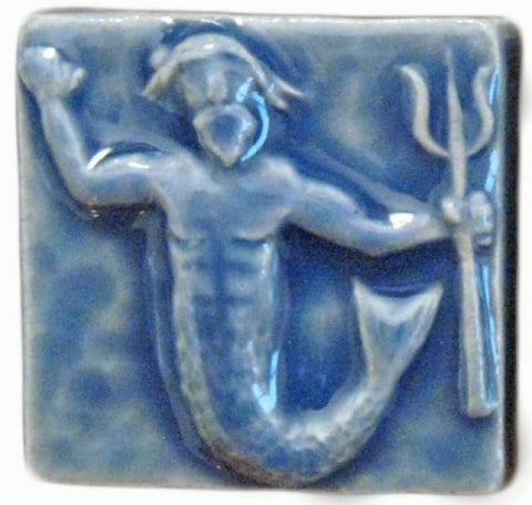 "Poseidon 2""x2"" Ceramic Handmade Tile - Watercolor Blue Glaze"