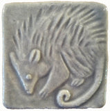 "Possum 2""x2"" Ceramic Handmade Tile - Gray Glaze"